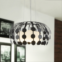 Nordic iron pendant lights creative glass dining room personality balcony living room bedroom Hotel white/black 3 heads lamps ZA
