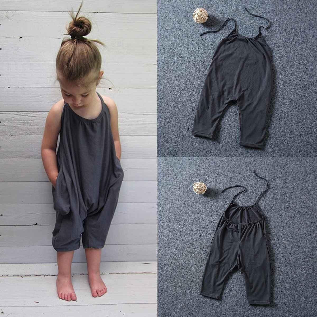 Niño niños bebé niñas sin mangas Halter Pelele de tirantes mono pantalones de harén pantalones niños niñas ropa de verano