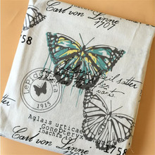 Printed Linen Cotton Fabric Patchwork Sewing Butterfly DIY Quilting Canvas Material For Home Textile