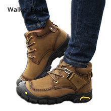 Men Winter Ankle Boots Genuine Leather Snow Boots Big Size 38-49 Outdoor Warm Winter Shoes for Men Anti-cold Booties Walker Peak