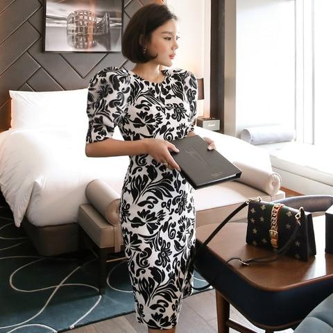 Women Office Lady Dresses  Bodycon Short Sleeve 2019 Summer Slim Vintage Elegant Dress Islamabad