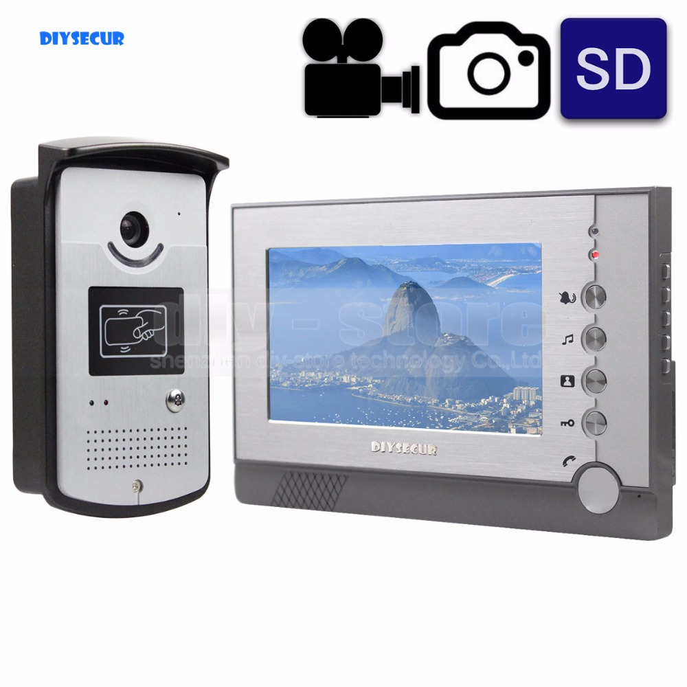 DIYSECUR Video Record / Photograph 7 inch Wired Video Door Phone Doorbell Home Security Intercom System RFID Camera
