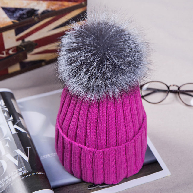 2016 Winter Hats for Women Casual Acrylic Yarn with 15cm Fox Fur Hat with Pompom Unisex Real Fur Men Women's Knitted Cap