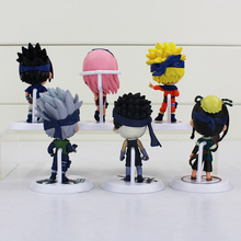 6Pcs/Set Naruto Figure Uzumaki Naruto Sakura Sasuke Kakashi PVC Figures Toy Collection Model Doll Toys Great Gift