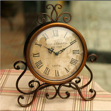 Europe type restoring ancient ways frame wrought iron table clock creative home wall clock bell bedroom Classic adornment