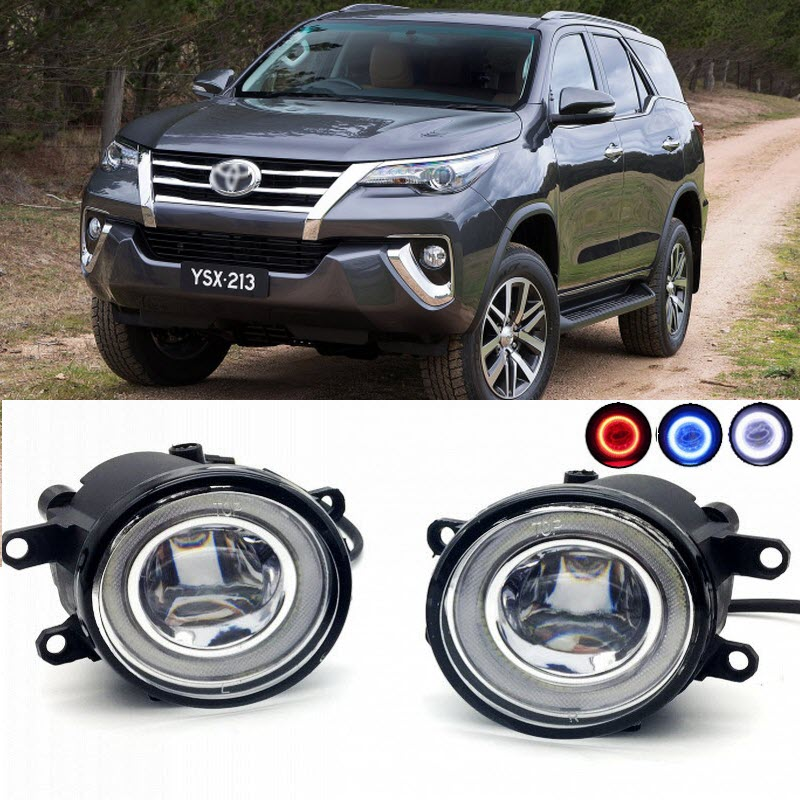 2 in 1 LED Cut-Line Lens Fog Lights Lamp 3 Colors Angel Eyes DRL Daytime Running Lights for Toyota Fortuner 2015 2016 2017 car styling 2 in 1 led angel eyes drl daytime running lights cut line lens fog lamp for land rover freelander lr2 2007 2014