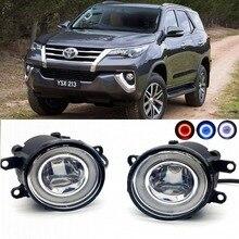 2 в 1 LED-линии объектива Противотуманные фары лампы 3 цвета Ангельские глазки DRL Габаритные огни для Toyota Fortuner 2015 2016 2017