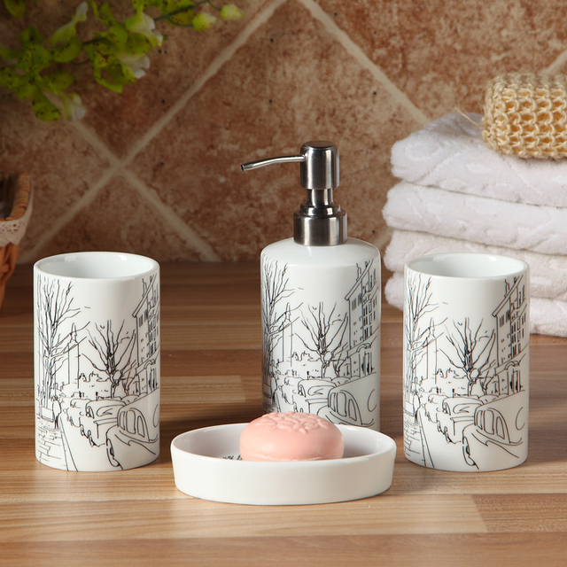 Porcelain Bathroom Set High Quality Ceramic Elegant Bathroom Set Gift Box  Four Piece Set Tumbler