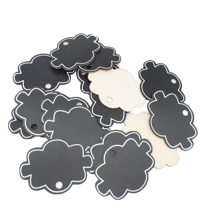 10pcs Mini Wooden Hanging Blackboard With Hemp String Cloud Shape Chalkboard Luggage Label Message Board Hang Tags