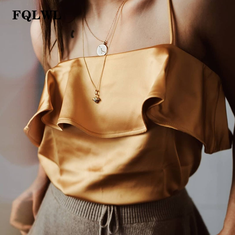 FQLWL Ruffles Spaghetti Strap   Top   Cropped For Women Shirts Sleeveless Off Shoulder Satin   Top   Femme Cami Casual Summer   Tank     Tops