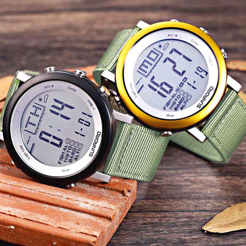 SUNROAD Men Sports Watches Digital Weather Forecast Outdoor Fishing Watch Waterproof Barometer Thermometer Altimeter Watch Men