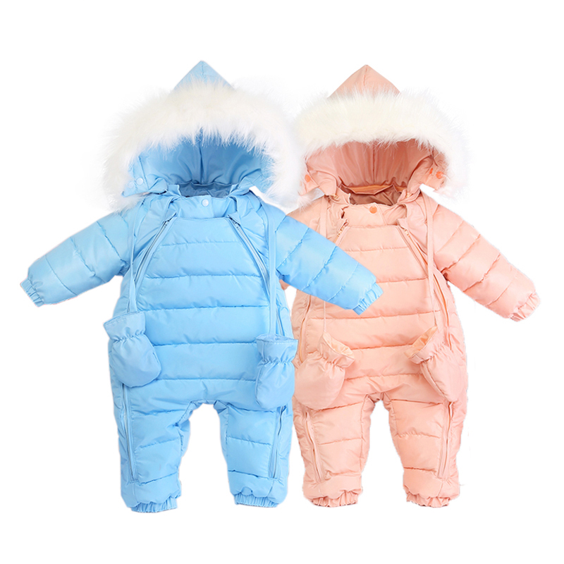 ФОТО Baby Snowsuit Outwear Coats 2016 New Winter Baby Boys Girls Snow Wear Clothing Sets Pink Blue Hooded Baby Rompers 0-24M V30