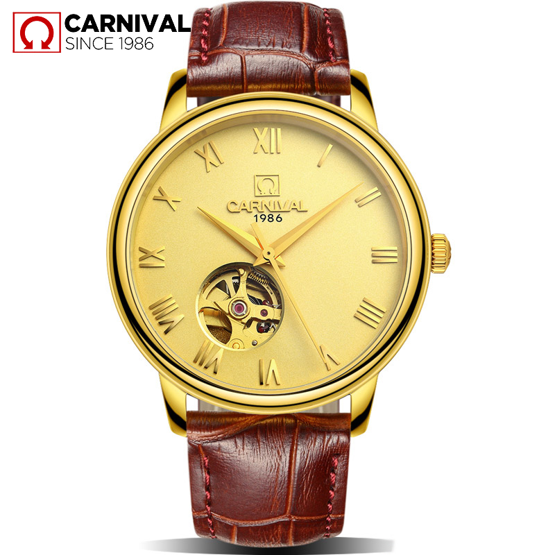 CARNIVAL Simple Steampunk Casual Men Watch TopBrand Automatic Mechanical Wrist Relogio Waterproof Leather Strap Skeleton Clock