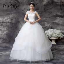 It's YiiYa Beading Boat Neck Floor Length Wedding Dresses Cheap White Bridal Frocks Custom Made Vestidos De Novia MD60