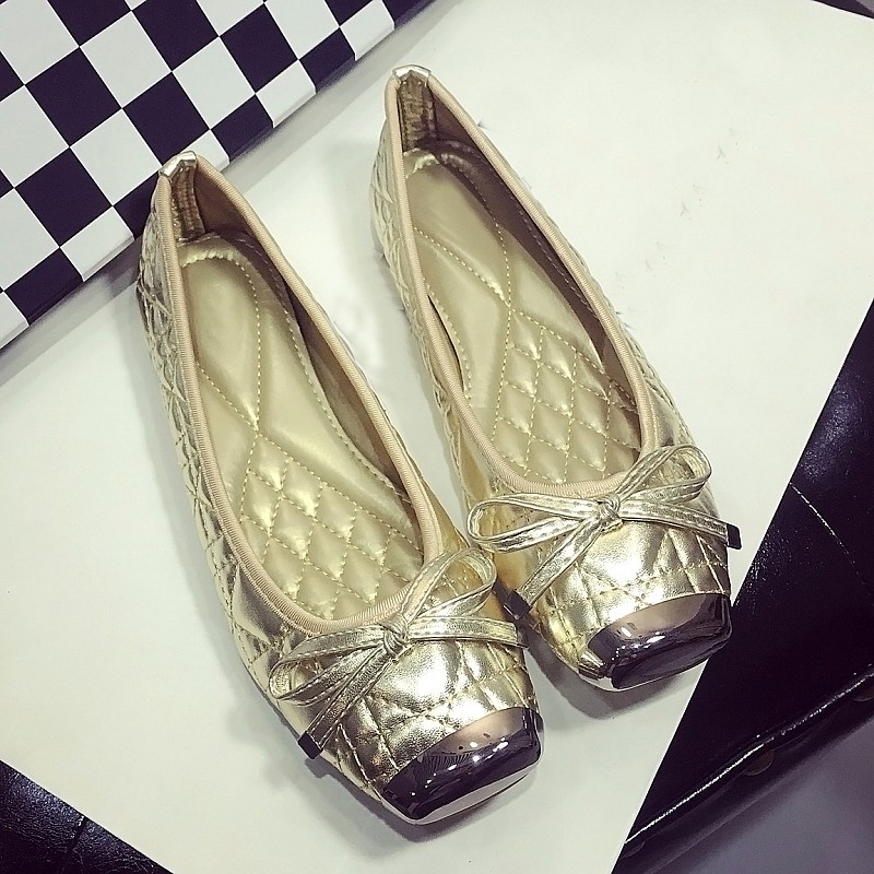 Gold Color Fashion Women's Ballet Flats Spring Autumn Metal Square Toe Bowtie Slip On Female Ballet Shoes Women Driving Shoes fashion women pointed toe flats shoes spring autumn rivets bowtie shallow slip on woman ballet flats ladies single shoes pink