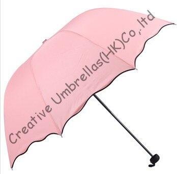 Fleur d'eau imprimée, pongé 90 T, 100% parasol, changement de couleur, parapluies manuels de forme arquée, trois fois, parasols princesse