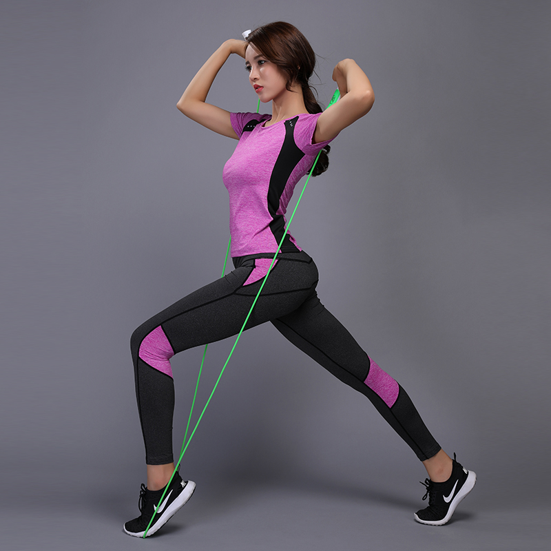 цена на Women Yoga Suits Gym Fitness Clothes Tennis Shirt+Pants Running Tights Jogging Workout Yoga Leggings Sport Suit
