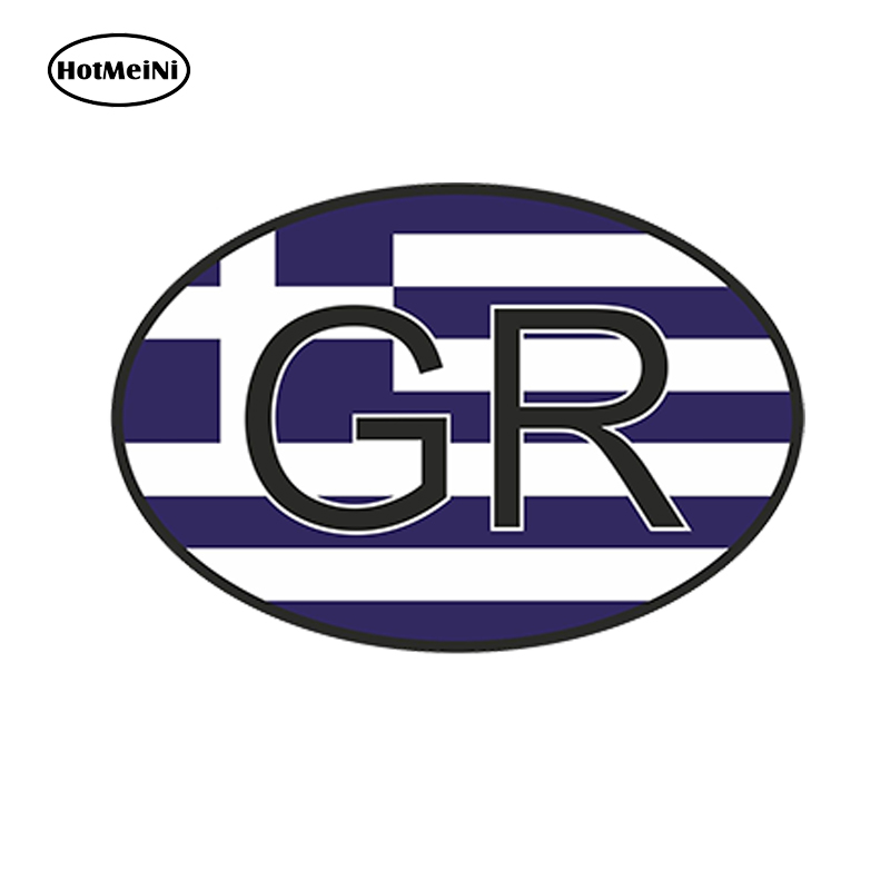HotMeiNi 13X9.1cm Car Styling Gr Greece Country Code Oval With Greek Flag Car Sticker Waterproof Bumper Door Windows Accessories argentina ra for republica argentina in spanish and argentinian flag car bumper sticker decal oval