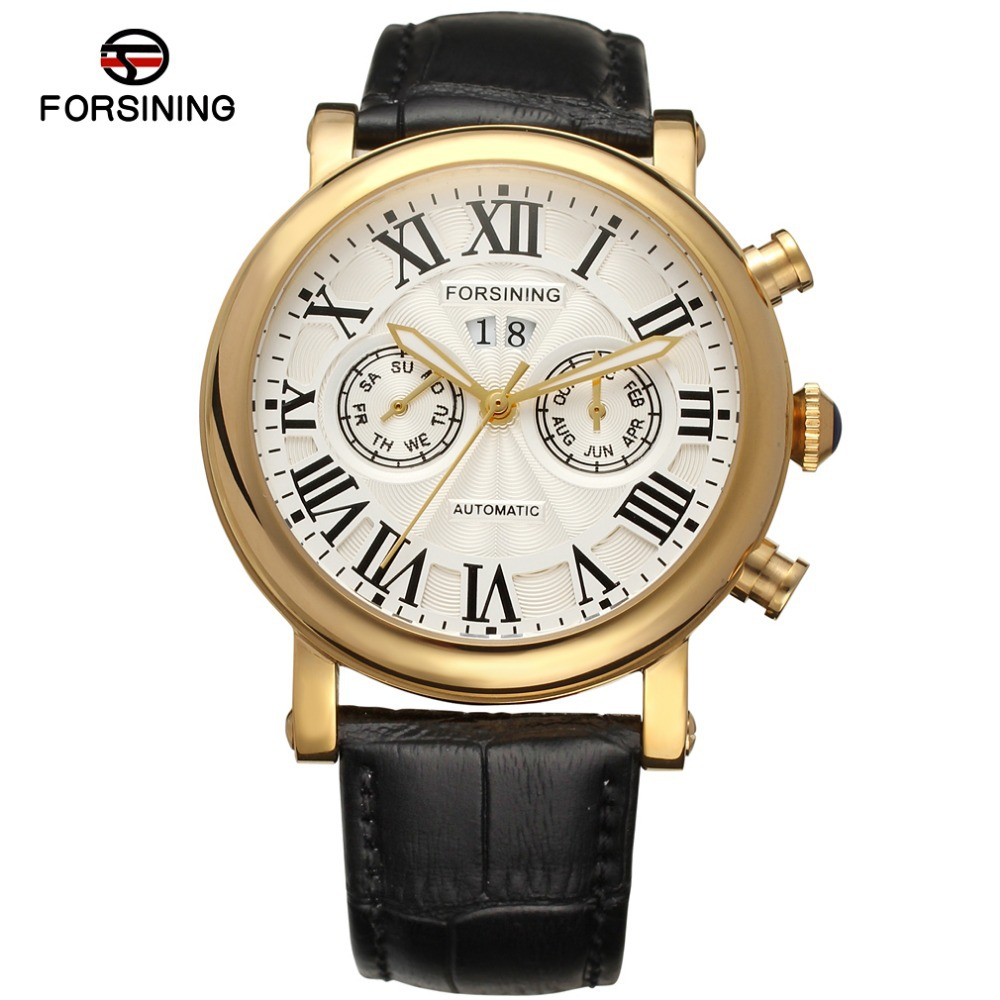 Brand Luxury  Stainless Steel Case Gold Color Bezel Automatic movt  Month Day Week Function Leather Strap men watch FSG9407M3G1