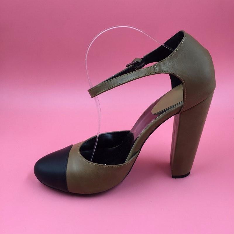 Round Toe Ankle Strap Pump Dua Potong Wanita Pompa Chunky Heels Unik - Sepatu Wanita - Foto 6