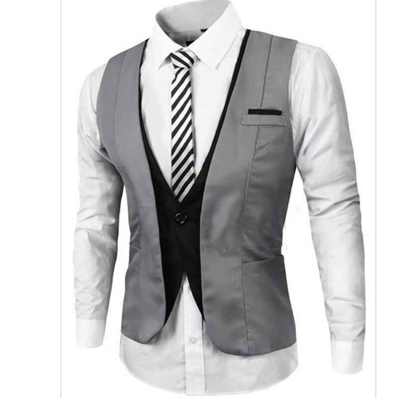 New Arrival Mens Suit Vest V Neck Contrast Color Slim Fit Dress Vests For Men Back Strappy Waistcoat Hombre
