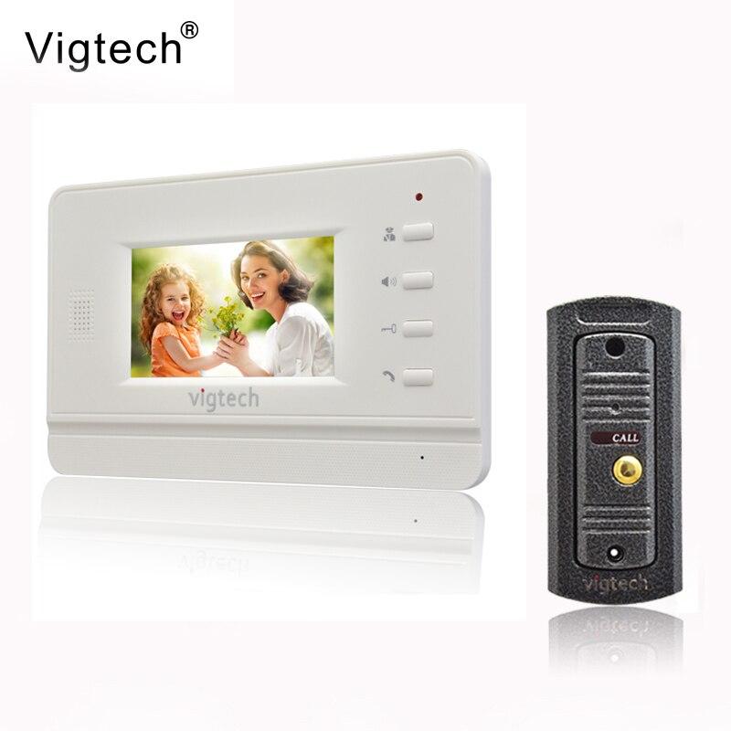 Vigtech4.3`` video intercom video doorphone speakerphone intercom system white monitor outdoor with waterproof & IR camera