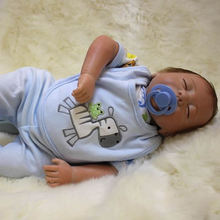 Reborn Baby Silicone Dolls Lovely 18 Inch Newborn Boy Babies Lifelike Toy Sleeping Doll With Clothes Kids Birthday Xmas Gift