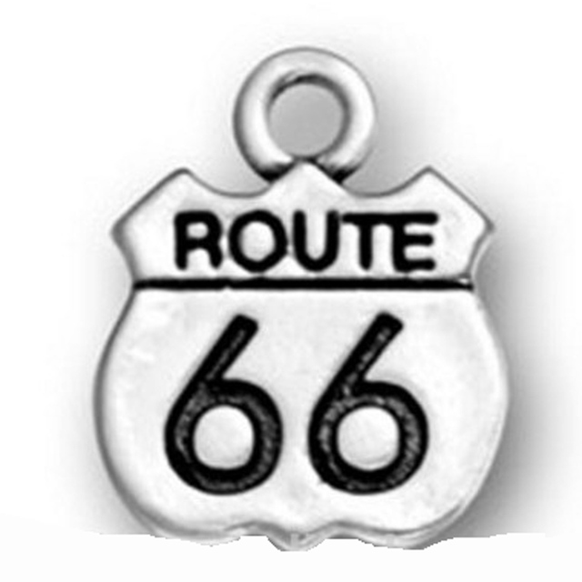 Antique Silver Plating Lead And Nickle Free Route 66 Sign Charm In