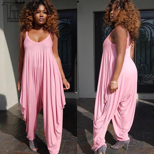 Mujeres del mono sin tirantes púrpura rosa suelta playsuits pantalones largos monos mamelucos para mujer bodycon macacão feminino