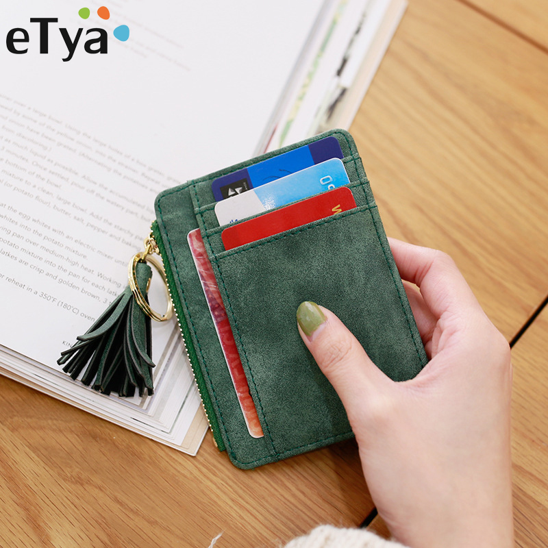 eTya Slim Women Wallet Short Bag Small Pu Leather Credit Card Holders Thin Tassel Zipper Wallets Coin Pocket Fashion Clutch bag