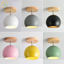 Modern Colour Led Ceiling Lights with Metal Lampshade for Corridor Nordic Wood E27 Kitchen Ceiling lamps Home Lighting Fixtures