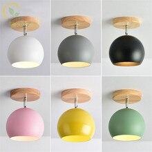 現代のカラー led シーリングライト金属ランプシェード廊下北欧木製 E27 キッチン天井ランプ家庭の照明器具