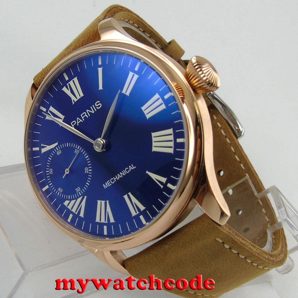 44mm parnis blu quadrante luminoso marks 6497 movimento carica manuale mens watch P82744mm parnis blu quadrante luminoso marks 6497 movimento carica manuale mens watch P827