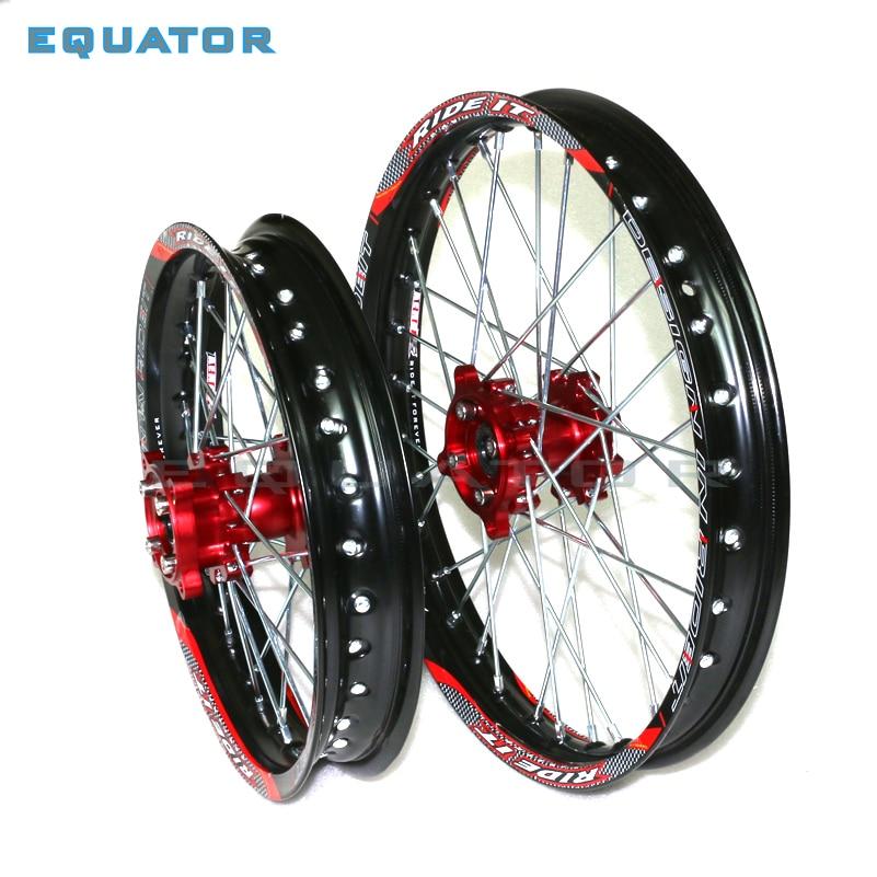 Dirt Pit bike 12/14 pouces noir 15mm avant 1.40x14 arrière 1.85x12 pouces jante en aluminium avec moyeu de CNC pour KAYO HR-160cc TY150CC