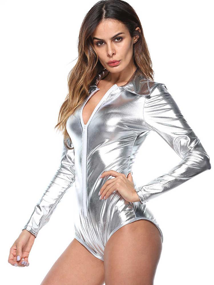 เสื้อผ้าผู้หญิง 2019 เงินหนัง Pu พลัสขนาด Bodysuit ลำลองแขนยาว Zipper Bodycon Jumpsuit พรรค Overalls ชุดเซ็กซี่