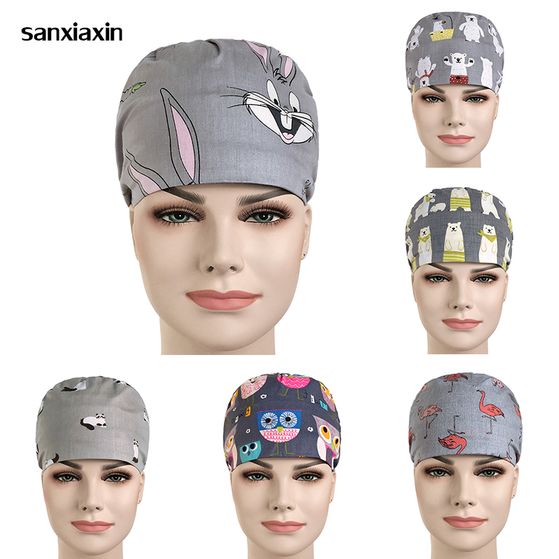 Sanxiaxin Hospital Man And Woman Surgery Cap Operating Room Hat 100% Cotton Pet Doctor Dental Nurse Hat Medical Hat Doctor Hat