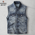 Vintage Men Denim Vest Fall Fashion Retro Cotton Sleeveless Washed Jeans Jacket Plus Size Waistcoat Asian Size A1428