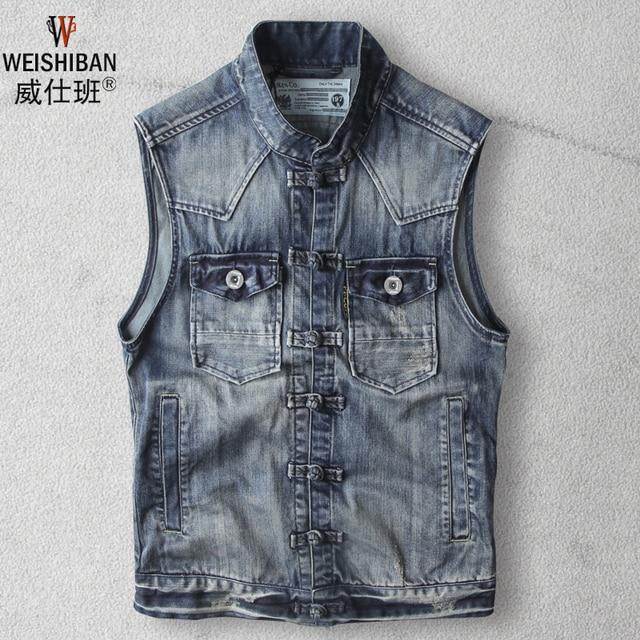 Vintage Men Denim Vest Fall Fashion Retro Cotton Sleeveless Washed Jeans Jacket Plus Size Waistcoat Asian Size A1428