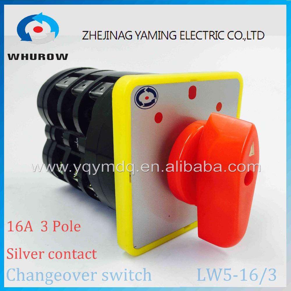 Rotary switch 3 postion 550V 16A 3 poles red dot LW5-16/3 main universal changeover cam switch silver contact circuit control 660v ui 10a ith 8 terminals rotary cam universal changeover combination switch