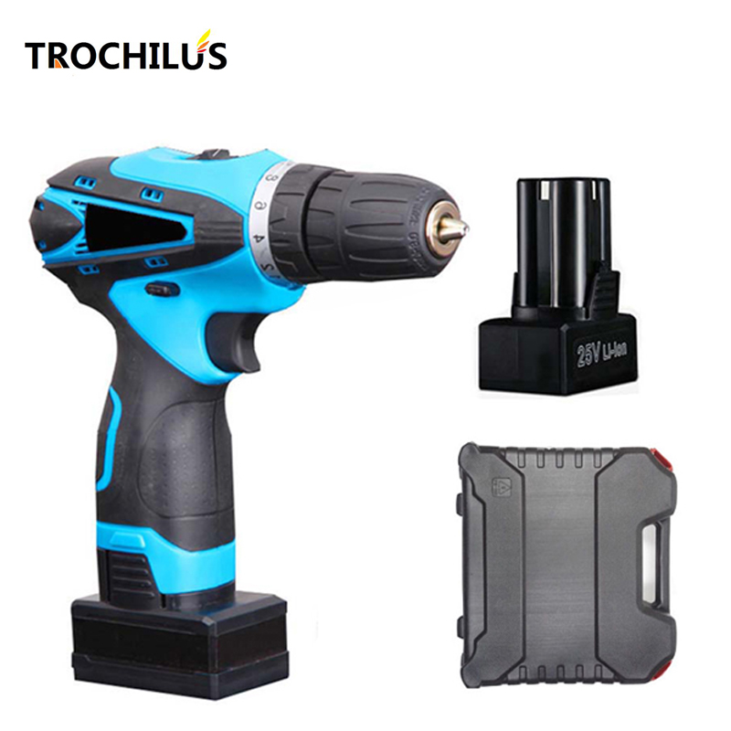 25V power tools cordless screwdriver Multifunction rechargeable screwdriver with lithium battery * 2 Household toolbox replacement rechargeable 3 7v 2000mah lithium battery pack with screwdriver for nintendo 3ds