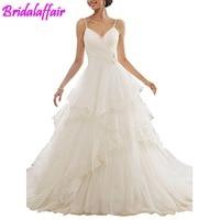 Новый hvvlf Съемная нарядное платье Многоуровневое Свадебные платья с аппликацией бальное платье бретельках Свадебные платья невесты свадеб
