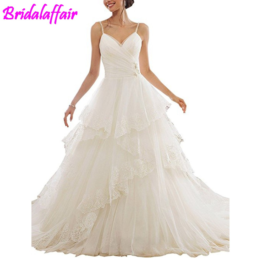 New hvvlf detachable wedding gown Tiered Wedding Dresses Appliques Ball Gown Spaghetti Straps Bridal Gowns bride wedding dress gown