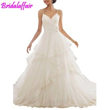 New hvvlf detachable wedding gown Tiered Wedding Dresses Appliques Ball Gown Spaghetti Straps Bridal Gowns bride dress