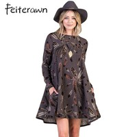 Feiterawn Long Sleeve A Line Dresses Winter Office Coffee Feather Graphic Print Pocket Tunic Mini Dress Roupa Casual Vestido