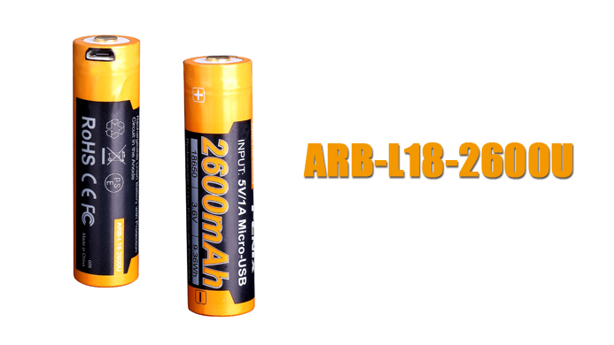 Original Fenix ARB-L18-2600U 2600mAh 18650 USB Rechargeable Li-ion Battery with Protection Circuit