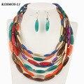 Multicapa perla choker joyería de nueva moda clásico declaración granos de acrílico collar de joyería de las mujeres collar de indiana 8057