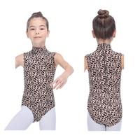 Tänzer Wahlen Mädchen Leopard Behälter Kühlen Lycra Trikot mit High Neck für Kinder Damen Praxis Ballett Gymnastik Body