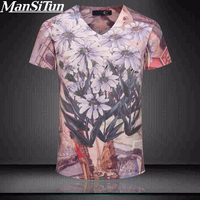 2017 Top Quality Mens T Shirts Fashion Summer Vintage Short Sleeve V Neck 3D Cotton T