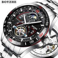 BOYZHE Luxus männer Automatische mechanische Armbanduhren High-end-marke uhren Mode-business mans 3bar Wasserdichte Sport uhr