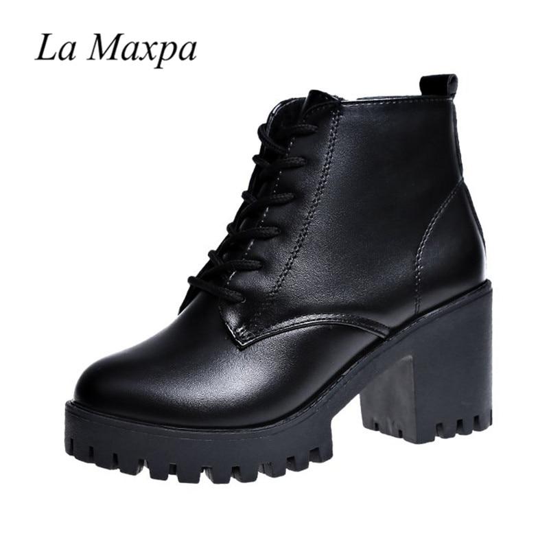7798af6e98d54 Comprar Saltos Plataforma Mulheres Ankle Boots De Couro Macio Salto Alto  Grosso 7.5 Cm Outono Inverno O Aquecimento Da Pele Tamanho Grande Neve  Agrave; ...